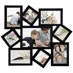 Adeco Decorative Black Wood Wall Hanging Collage Picture Photo Frame, Cluster, 9 Openings, Various Sizes - inches Matte black finish Materials: wood; Plexiglas Holds 9 images: 4 2 2 One Easy to hang; hook on back Unique frame sizes; Wall Collage Picture Frames, Collage Foto, Large Picture Frames, Hanging Picture Frames, Hanging Pictures, Frames On Wall, Picture Wall, Family Collage, Picture Photo