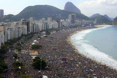 The faithful crowded Copacabana beach in Rio de Janeiro for the Mass by Pope Francis. Clergy and pilgrims hailed the pope's trip as a great success.