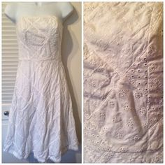 American Eagle white, quilted strapless dress. American Eagle white, quilted strapless dress, size 0. 100% cotton. EUC. American Eagle Outfitters Dresses Strapless