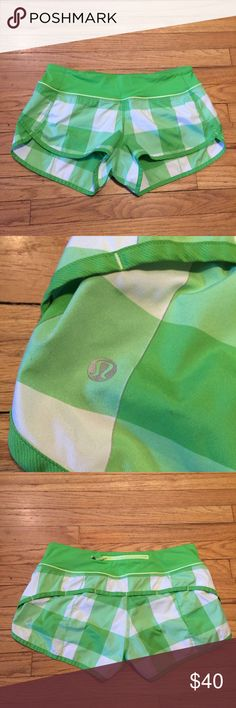 Lululemon green plaid run swiftly shorts - sz 6 Lululemon green plaid run swiftly shorts - sz 6. Waist - 15 inches. Rise - 10.5 inches. Length - 10.5 inches in back, 8 inches in front. Inseam - 2.5 inches. Excellent condition. lululemon athletica Shorts