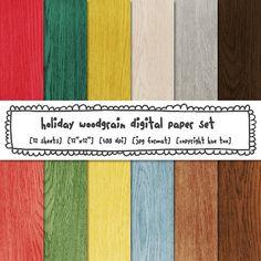woodgrain digital paper wood texture holiday red green by huetoo