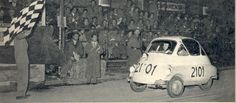 1954. This Isetta finished 177th of 182 finishers, eleven and a half hours behind the winning Lancia. Of the last seven cars five were Isettas. A Fiat finished last.