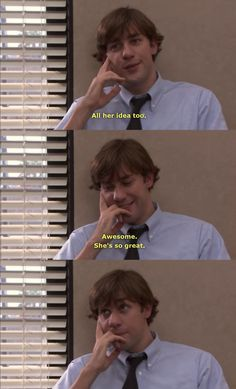 Jim saying that Pam is so great. I think this is before he realized how much he was letting show and that he needed to really reign in and hide his feelings for Pam as much as possible. Office Jokes, Funny Office, Best Tv Couples, The Office Show, John Krasinski, Dunder Mifflin, Michael Scott, Parks N Rec, Best Shows Ever