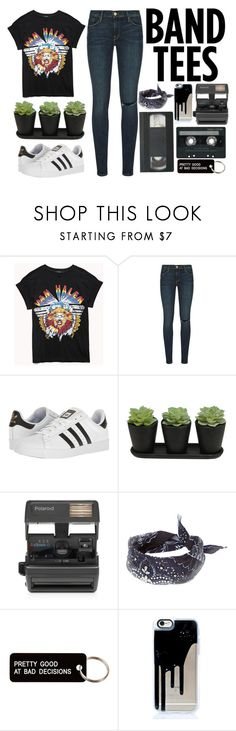 """""""I'm With The Band: Band T-Shirt"""" by a-hidden-secret ❤ liked on Polyvore featuring Forever 21, Frame, adidas, Impossible, CASSETTE and Various Projects"""