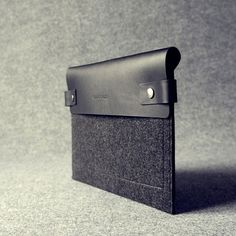 Leather iPad Sleeve (Black & Charcoal Grey) by Charbonize, $89 !!