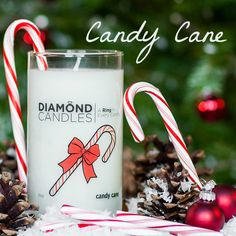Candy Cane Diamond Candle - It's a WONDERFULLY sweet peppermint aroma that will release into your home this winter holiday season.   with a HIDDEN RING inside valued $10-$5,000 in EVERY ring candle! Great Christmas gift ideas to use, too!