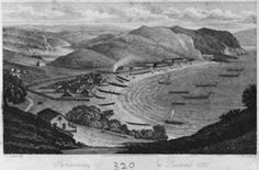 Kororāreka in 1835/6 showing European houses, Māori houses, gardens, waka (canoes) and other boats. By J. S. Polack. From the Alexander Turnbull Library ref. PUBL-0115-1-front.