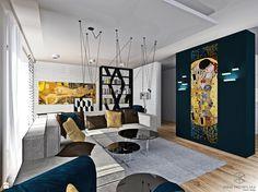 Salon z kuchnią z nutą Art Deco - zdjęcie od Anna Przybylska Design - Salon - Styl Art- deco - Anna Przybylska Design
