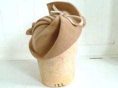 1930's Style Tan Saucer Fascinator Hat Handmade For by MiriamLeala