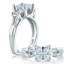 Classic Three Stone Princess Ring www.bridalrings.com Beautiful selection of diamond engagement, wedding, and fine jewelry. Contact us for any inquiries: 213.627.7620 - remember to mention Pinterest!