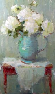 """White Flowers and Red Table"" by Barbara Flowers"
