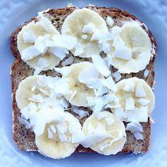 #Ezekiel multi grain Bread, #CoconutButter, vanilla #AlmondButter, #Banana & coconut flakes BOOM #GoodGirlsFitness - See more at: http://iconosquare.com/viewer.php#/myLikes/list