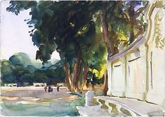 John Singer Sargent, Spanish Midday, Aranjuez, Watercolor and Graphite on white wove paper, 1912