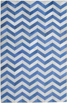 Chevron Hide Rug - Bright Blue & Cream | Scenario Home