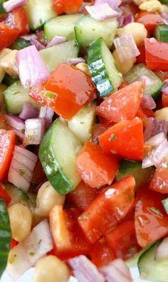 Greek Chopped Salad The Garden Grazer: Ultimate Greek Chopped Salad - sea or kosher salt;The Garden Grazer: Ultimate Greek Chopped Salad - sea or kosher salt; Vegetarian Recipes, Cooking Recipes, Healthy Recipes, Cooking Tips, Healthy Snacks, Healthy Eating, Greek Recipes, Summer Salads, Soup And Salad