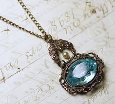 Aqua jewel necklace vintage style filigree brass blue pearl