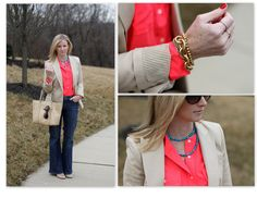 Neon & Neutral.  Bringing my winter wardrobe into spring with some color!  www.simplylulustyle.com