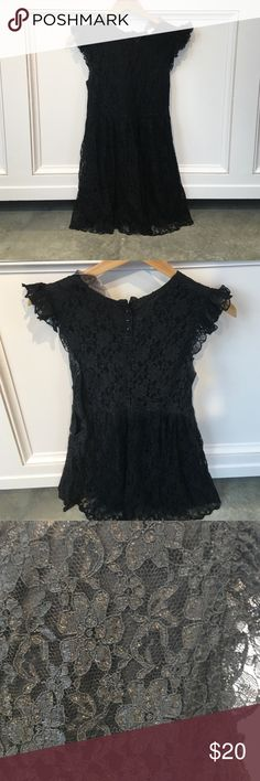 Black baby doll lace dress Black baby doll dress with floral lace and ruffle sleeve! Size M! Moon Collection Dresses Mini