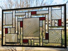Clears with Red Stained Glass Window Panel use as balcony screen. Prefer lighter colour in panel. Modern Stained Glass, Faux Stained Glass, Stained Glass Designs, Stained Glass Panels, Stained Glass Projects, Stained Glass Patterns, Leaded Glass, Beveled Glass, Mosaic Glass