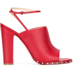 Valentino Valention Garavani Rockstud sandals (€895) ❤ liked on Polyvore featuring shoes, sandals, red, leather shoes, block heel sandals, valentino shoes, red sandals and open toe sandals
