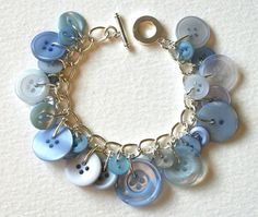 Pale Blue Mix Button Bracelet by MrsGibson on Etsy, $22.50
