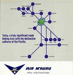Air Nauru March 1981 Air Nauru, Pacific Airlines, Wind Turbine, Maps, Aviation, Blue Prints, Map, Cards, Aircraft