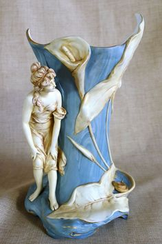 Magnificent Figural Circa 1890 Austrian Vase With Woman & Snake