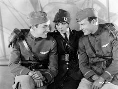 "Charles ""Buddy"" Rogers (from left), Clara Bow and Richard Arlen star in the 1927 movie ""Wings."""