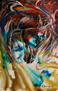 Horse Painting Equine Abtract Original by DennisFineArt on Etsy, $299.00