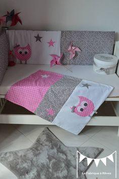 Dispo - Couverture bébé polaire toute douce fille hibou chouette rose gris blanc étoiles
