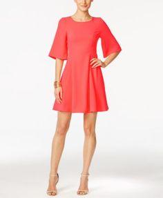 CeCe Emery Flutter-Sleeve A-Line Dress | macys.com