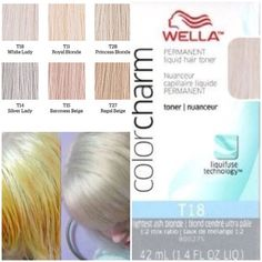 Wella toner for BLONDE/PLATINUM hair! Pre-lighten the hair with Wella bleach to desired level before applying toner. If my roots are EXTREMELY dark I use volume on roots only otherwise you can use 20 volume developer. Never pre-lighten previousl White Blonde, Blonde Color, Yellow Blonde Hair, Wella Hair Toner, Wella Toner Chart, Toner For Hair, Dyed Hair, Hair Beauty, Coiffure Facile