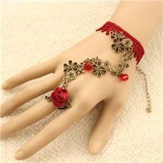 Lace Bracelet, Ring Bracelet, Vintage Bracelet, Cheap Fashion Jewelry, Fashion Bracelets, Fashion Accessories, Ribbon Embroidery Tutorial, Magical Jewelry, Hand Jewelry