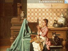 *Woman sewing, with cat*