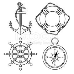 Vector set with isolated anchor, lifebuoy, ship's wheel, compass ...