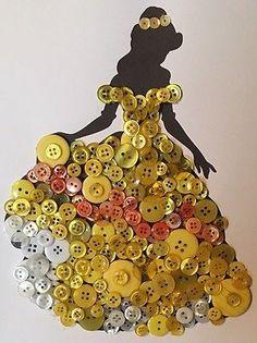 Disney belleza y la Bestia Belle silueta inspirada en botón de arte sin enmarcar. M.T.O.