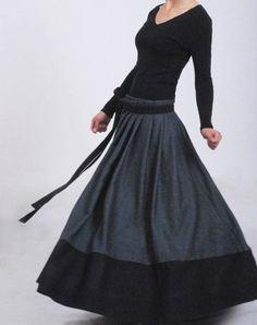 Envolver falda falda gris falda de lana falda del invierno