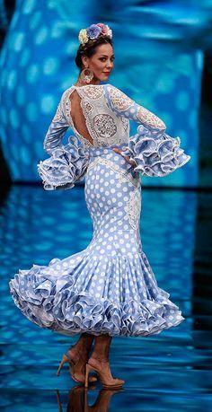 "[gallery link=""none"" size=""full"" Flamenco Costume, Flamenco Dancers, Special Dresses, Nice Dresses, Girls Dresses, Retro Fashion, High Fashion, Womens Fashion, Blue And White Dress"