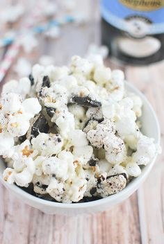 Cookies and Cream Popcorn! Popcorn and oreos are coated in melted marshmallows!