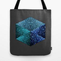 Hexagon blue sparkle diamond Dark Grey Tote Bag by #PLdesign #BlueSparkles #SparklesGift