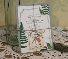 Woodland themed baby shower invitation by Posh Paperie. Photo by Jackie Wonders.