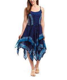 Shabri Fashions Blue Ornate Tiered Sleeveless Dress | zulily