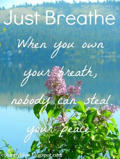 just breath. when you own your breath, nobody can steal you PEACE