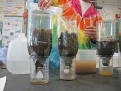 A science project on water filtration teaches students that untreated water from streams and rivers contains millions of bacteria and pollutants, which cause illness 5th Grade Science, Kindergarten Science, Middle School Science, Elementary Science, Science Classroom, Teaching Science, Science Activities, Science Experiments, Mad Science