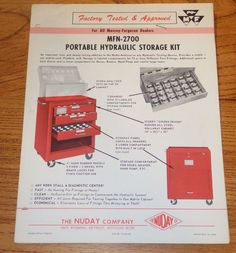 1966 Massey Ferguson Dealer / Nuday Co MFN2700 Hydraulic Storage Bulletin Sheets #MasseyFerguson