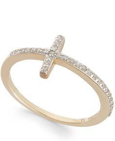 wrapped Diamond Cross Ring in YellOra