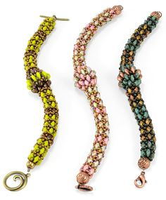 Chaînon -- SuperDuo bead bracelet pattern by TrendSetter Eileen Barker. Ask for this pattern at your local bead store.