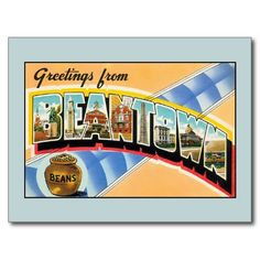 Vintage greetings from Boston Beantown Postcard, greeting cards, fridge magnets