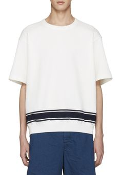 Tomorrowland White Stripe Knit T-Shirt from SSENSE (men, style, fashion, clothing, shopping, recommendations, stylish, menswear, male, streetstyle, inspo, outfit, fall, winter, spring, summer, personal)