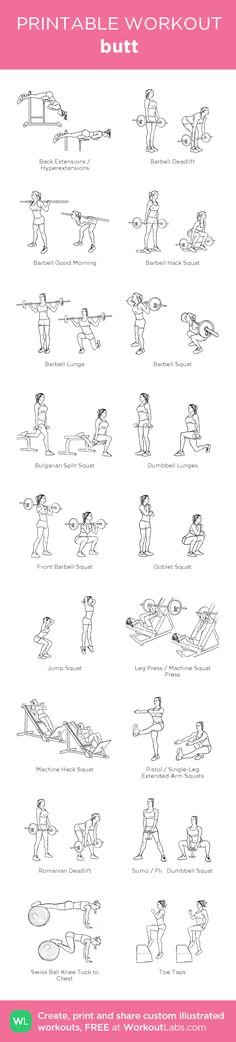butt: my visual workout created at WorkoutLabs.com • Click through to customize and download as a FREE PDF! #customworkout